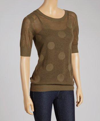 Olive Polka Dot Crewneck Sweater