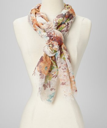 Yellow & Orange Floral Fringe Scarf