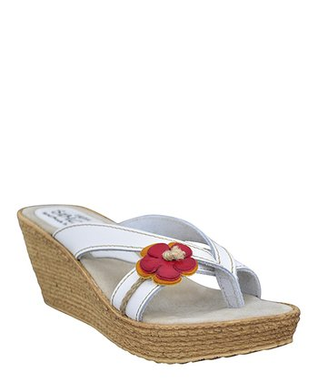 White Amity Wedge Sandal