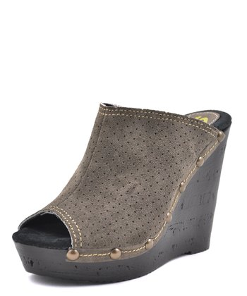 Gray Studded Peep-Toe Wedge