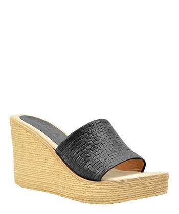 Black Leather Beth Espadrille