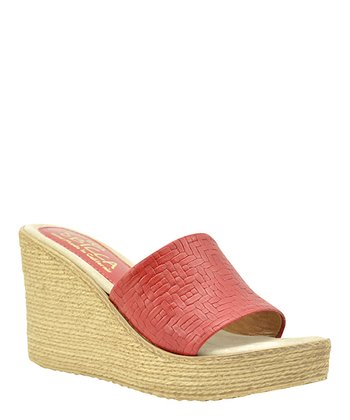 Red Leather Beth Espadrille