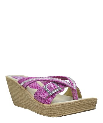 Fuchsia Sundown Wedge Sandal