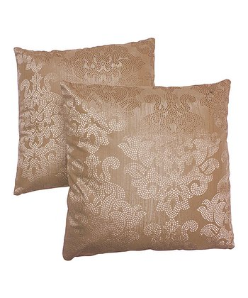 Gold Damask Pillow - Set of Two