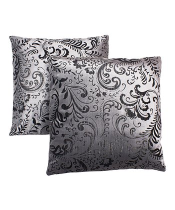 Silver & Black Pillow - Set of Two