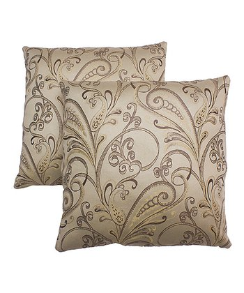 Cream Damask Pillow - Set of Two