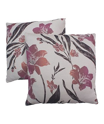 White & Pink Floral Pillow - Set of Two