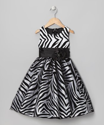 White Zebra Dress - Infant, Toddler & Girls