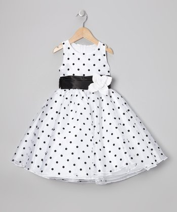 Black Polka Dot Organza Dress - Infant, Toddler & Girls