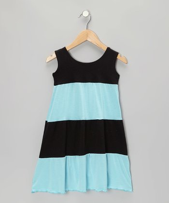 Blue & Black Stripe Dress - Infant, Toddler & Girls