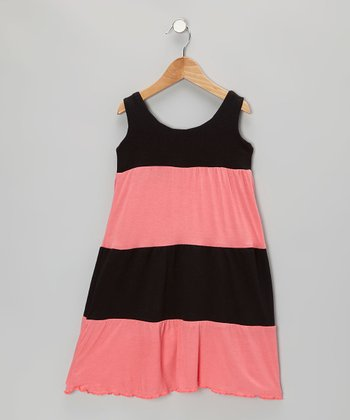 Coral & Black Stripe Dress - Infant, Toddler & Girls