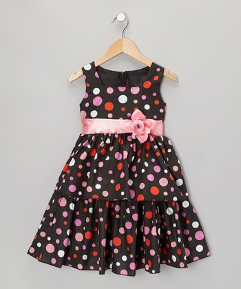 Black & Pink Polka Dot Dress - Infant, Toddler & Girls