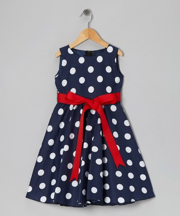 Blue Polka Dot Bow Dress - Infant, Toddler & Girls