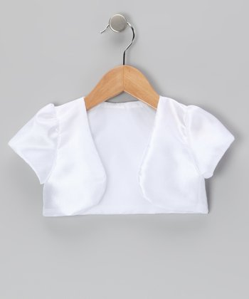 White Satin Shrug - Infant, Toddler & Girls