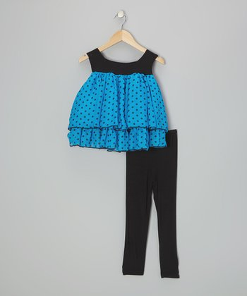 Blue Polka Dot Tunic & Black Leggings - Infant, Toddler & Girls