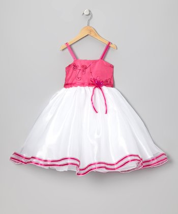 Fuchsia Floral Embroidered Dress - Infant, Toddler & Girls
