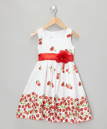 White Cherry Dress - Infant, Toddler & Girls