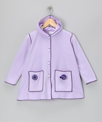 Purple Fleece Rosette Coat - Toddler & Girls