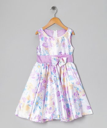Lilac Floral Bow Dress - Infant, Toddler & Girls