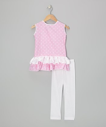 Pink Polka Dot Tunic & White Capri Leggings - Infant & Girls