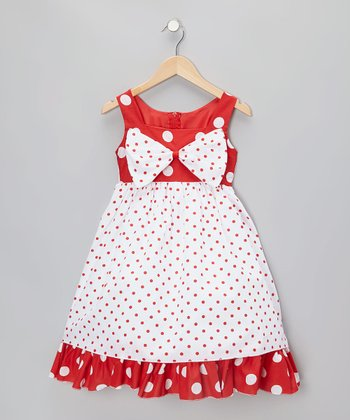 Red Polka Dot Bow Dress - Infant, Toddler & Girls