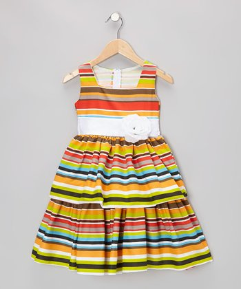 Lime Rainbow Stripe Dress - Infant, Toddler & Girls