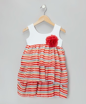 White & Red Stripe Dress - Infant, Toddler & Girls