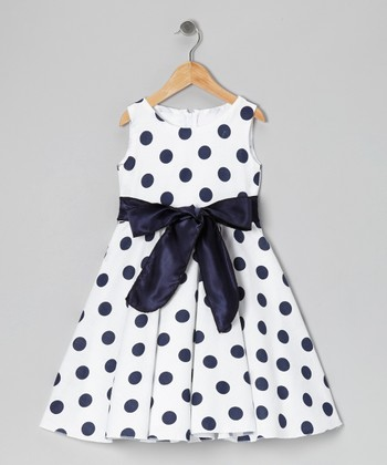 Navy & White Polka Dot Bow Dress - Infant, Toddler & Girls
