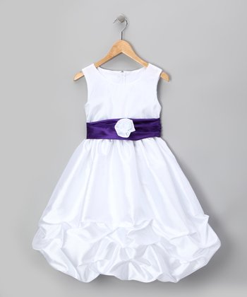 White & Purple Rosette Pick-Up Dress - Infant, Toddler & Girls