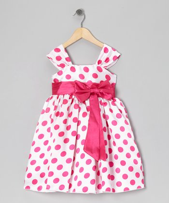 Fuchsia Polka Dot Bow Dress - Infant, Toddler & Girls