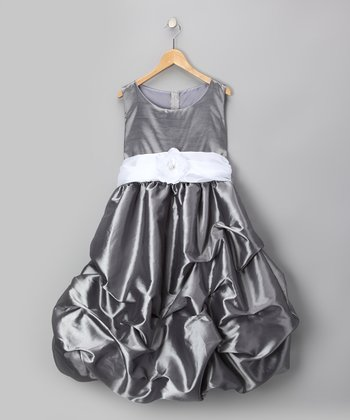 Gray Flower Pickup Dress - Infant, Toddler & Girls