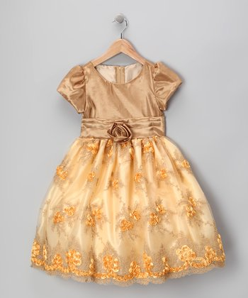 Royal Gold Organza Flower Dress - Infant, Toddler & Girls