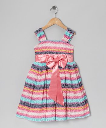 Rainbow Stripe & Leopard Bow Dress - Infant, Toddler & Girls