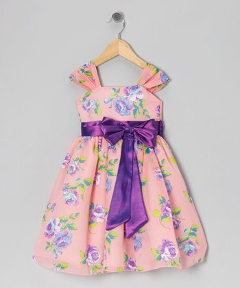 Coral & Lilac Floral Bow Dress - Infant, Toddler & Girls