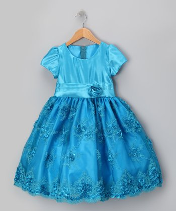 Royal Turquoise Organza Flower Dress - Infant, Toddler & Girls