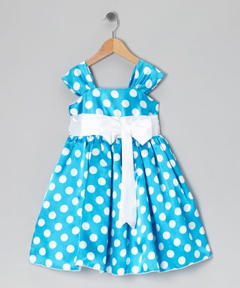 Royal Blue Polka Dot Bow Dress - Infant, Toddler & Girls