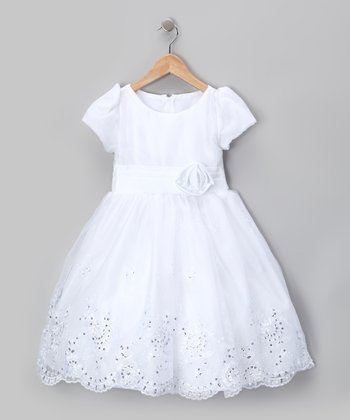 White Sequin Organza Flower Dress - Infant, Toddler & Girls