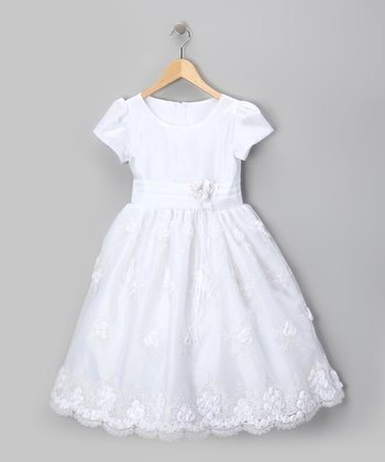Royal White Organza Flower Dress - Infant, Toddler & Girls