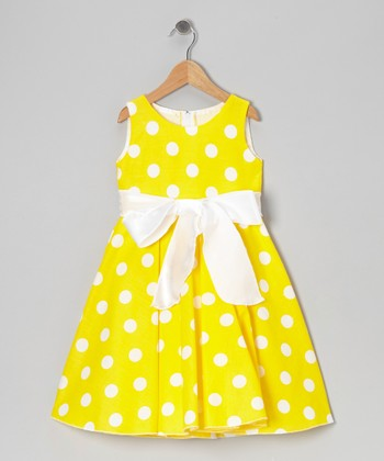Yellow Polka Dot Bow Dress - Infant, Toddler & Girls