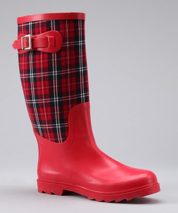Red Plaid Rocky Rain Boot