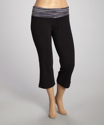 Black & Carbon Capri Pants - Plus