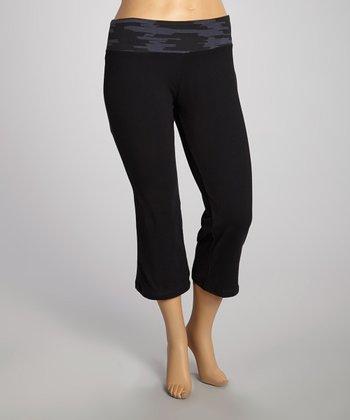 Black & Gray Capri Pants - Plus