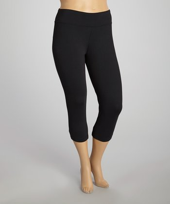 Black Sanded Dry-Wik Capri Leggings - Plus