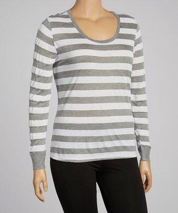 White & Heather Gray Stripe Maya Tee - Plus