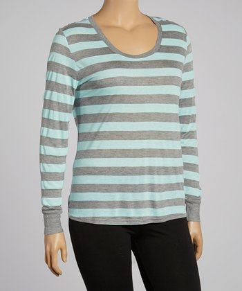 Heather Blue Stripe Maya Tee - Plus