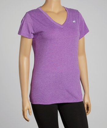 Heather Bright Violet Dry-Wik V-Neck Short-Sleeve Tee - Plus