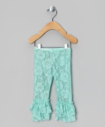 Aqua Lace Ruffle Leggings - Infant, Toddler & Girls
