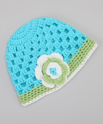 Blue & Green Flower Beanie