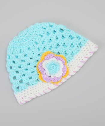 Blue & White Flower Beanie