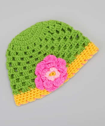Green & Yellow Flower Beanie
